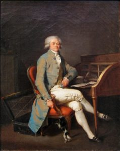 Louis-Léopold Boilly, Robespierre (before 1794). Robespierre is wearing a very similar frock coat made from shot silk taffeta in blue and reddish tones. It is of tight fit and features large decorative buttons.