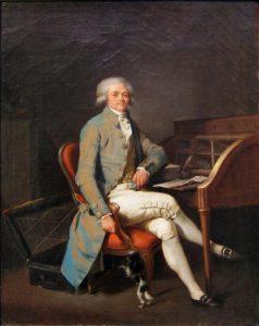 Louis-Léopold Boilly, Robespierre (vor 1794). Robespierre trägt auf diesem Portrait ein Frackmodell, welches unserem sehr ähnlich ist: Es besteht aus hellblauem ins Rötliche changierendem Seidentaft, ist körpernah geschnitten und verfügt über große, dekorative Knöpfe.