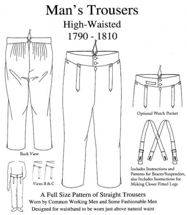 Man's Trousers High Waisted 1790 1810 (KK4303)