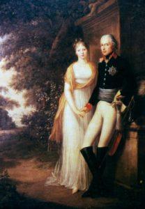 Friedrich Georg Weitsch, König Friedrich Wilhelm III. und Königin Luise von Preußen im Garten von Schloss Charlottenburg (1799).