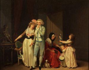 Boilly, Ce qui allume l'Amour, l'éteint, 1790 Wenn auch das Frackmodell des jungen Mannes über einen hohen Klappenkragen verfügt, so weist sein Zuschnitt doch starke Parallelen zu unserem Modell auf. Auch dieser Anzug besteht aus hellblau-changierendem Seidentaft und besitzt ein cremefarbenes Innenfutter