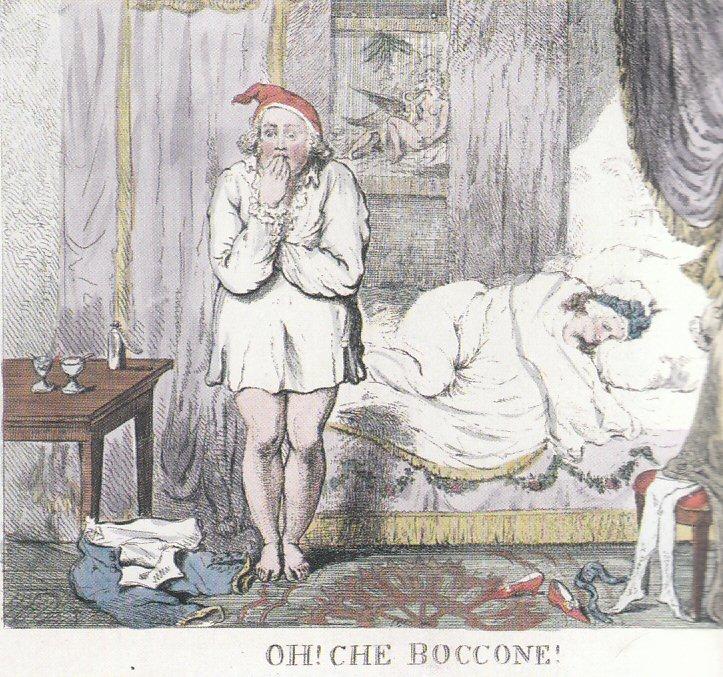 Dieser Druck von Isaac Cruikshank (1795) zeigt den Prince of Wales im Hemd am Brautbett. Vorfreude steht ihm allerdings kaum ins Gesicht geschrieben ... Deutlich zu erkennen: Rüschen werden direkt am Hemd befestigt und sind nicht Teil einer Krawatte.
