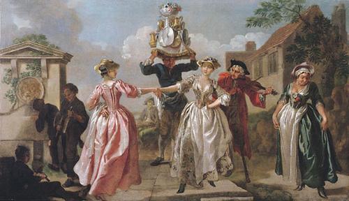 Francis Hayman The Milkmaids Garland, Malerei aus einer Supperbox in den Vauxhall Gardens