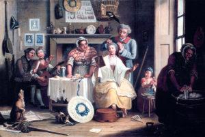 John Collet, High Life below Stairs (1763) Im Vordergrund dieser Dienstbotenszene liegt eine mit Spitze und Bändern dekorierte Bergère, über dem Kamin an der Wand hängt ein weiteres Exemplar.
